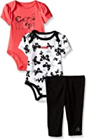 Calvin Klein Baby Girls' 2 Printed Bodysuits and Combed Interlock Pants