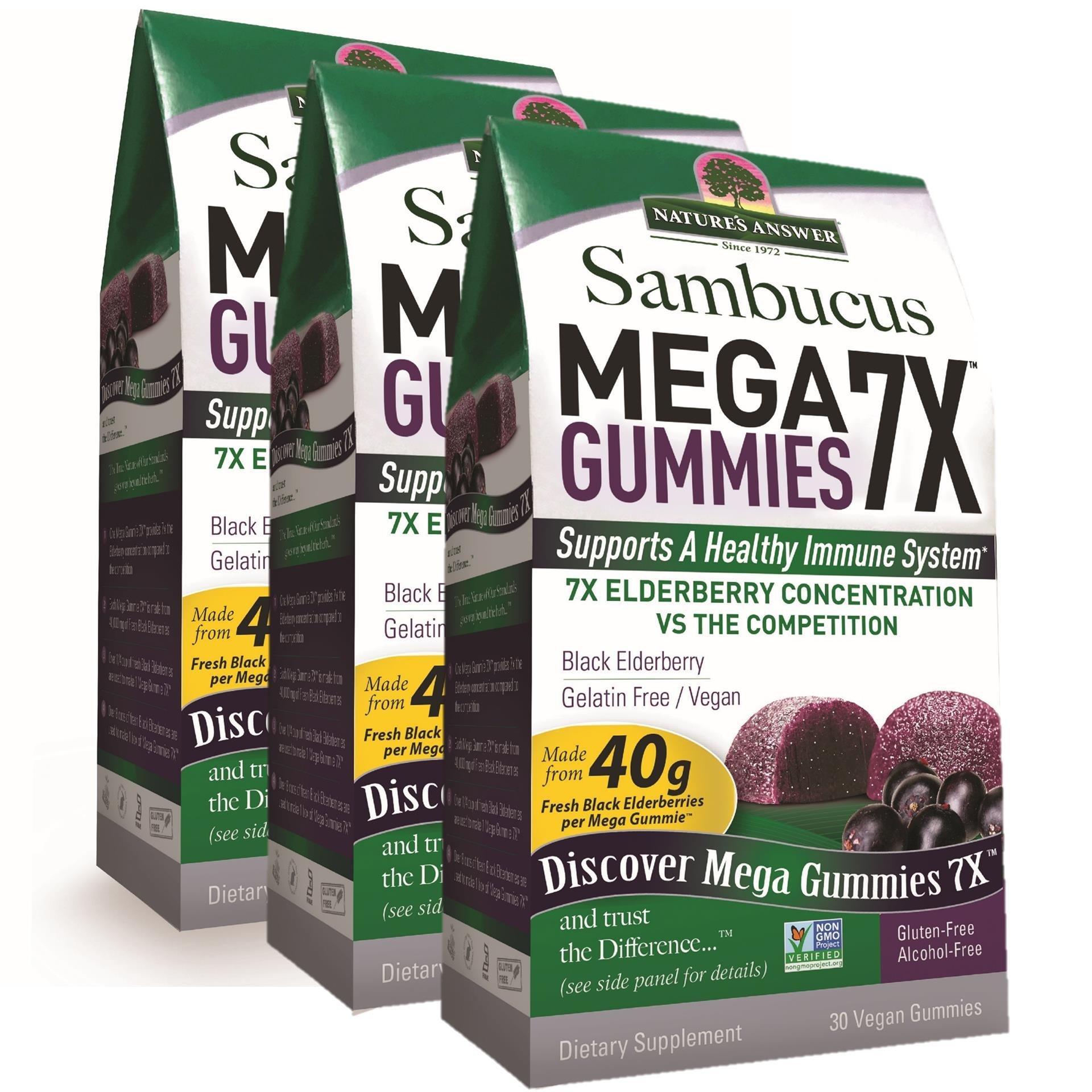Nature's Answer Sambucus Mega Black Elderberry Gummies, 7X More Elderberry Concentration, 90 Count (3 Pack)