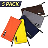 "5 Pack - Heavy Duty 16 oz. Canvas Tool Bags with Dependable Metal Zippers, Organize Smarter & More Efficiently with Durable Storage,12.5"" x 7"" Pouch, Easily Sorts Supplies"