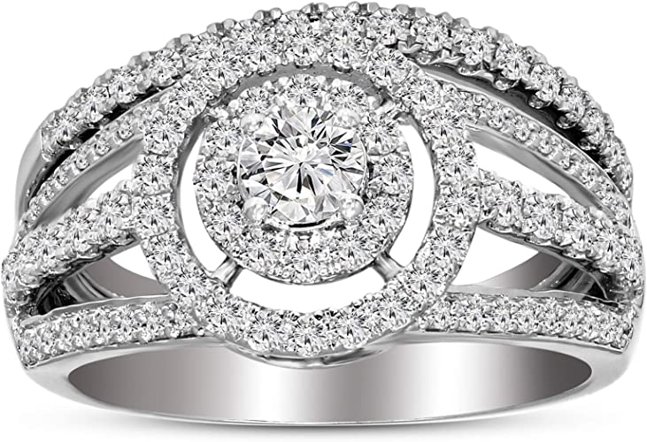 Gems and Jewels Forever 14K White Gold Finish Simulated Diamond Cluster Engagement Ring 0.25 ct