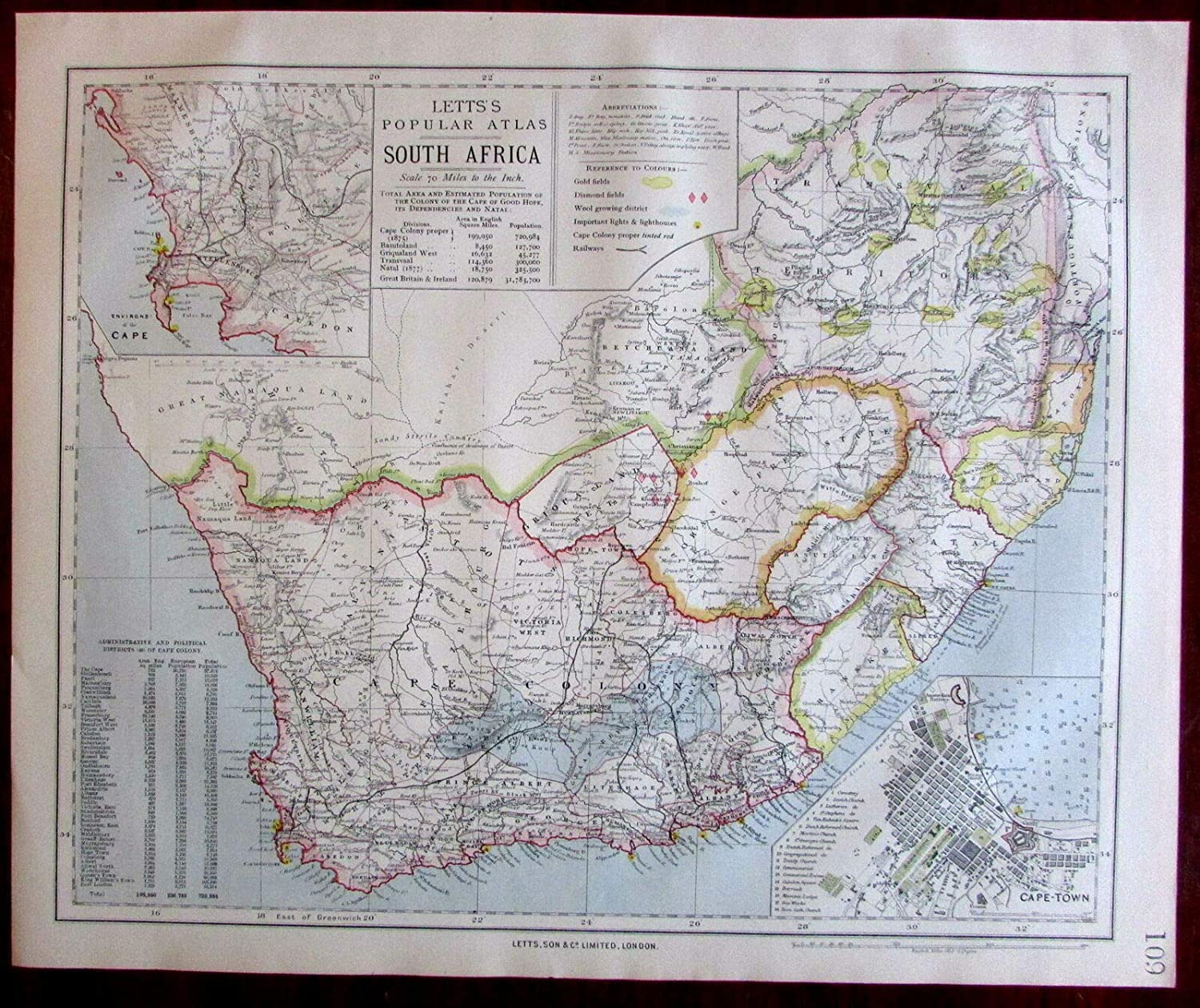 Old South Africa Map Amazon.com: South Africa w/Cape Town city plan inset 1883 Lett's