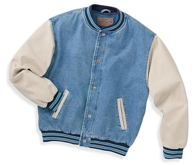 Port Authority Denim And Twill Letterman Jacket Light Blue Khaki