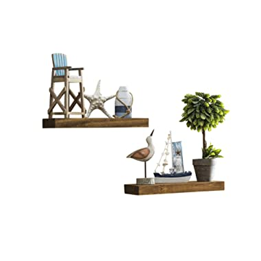 Del Hutson Designs-Rustic Pine Floating Shelves (Walnut, 16 Inch)
