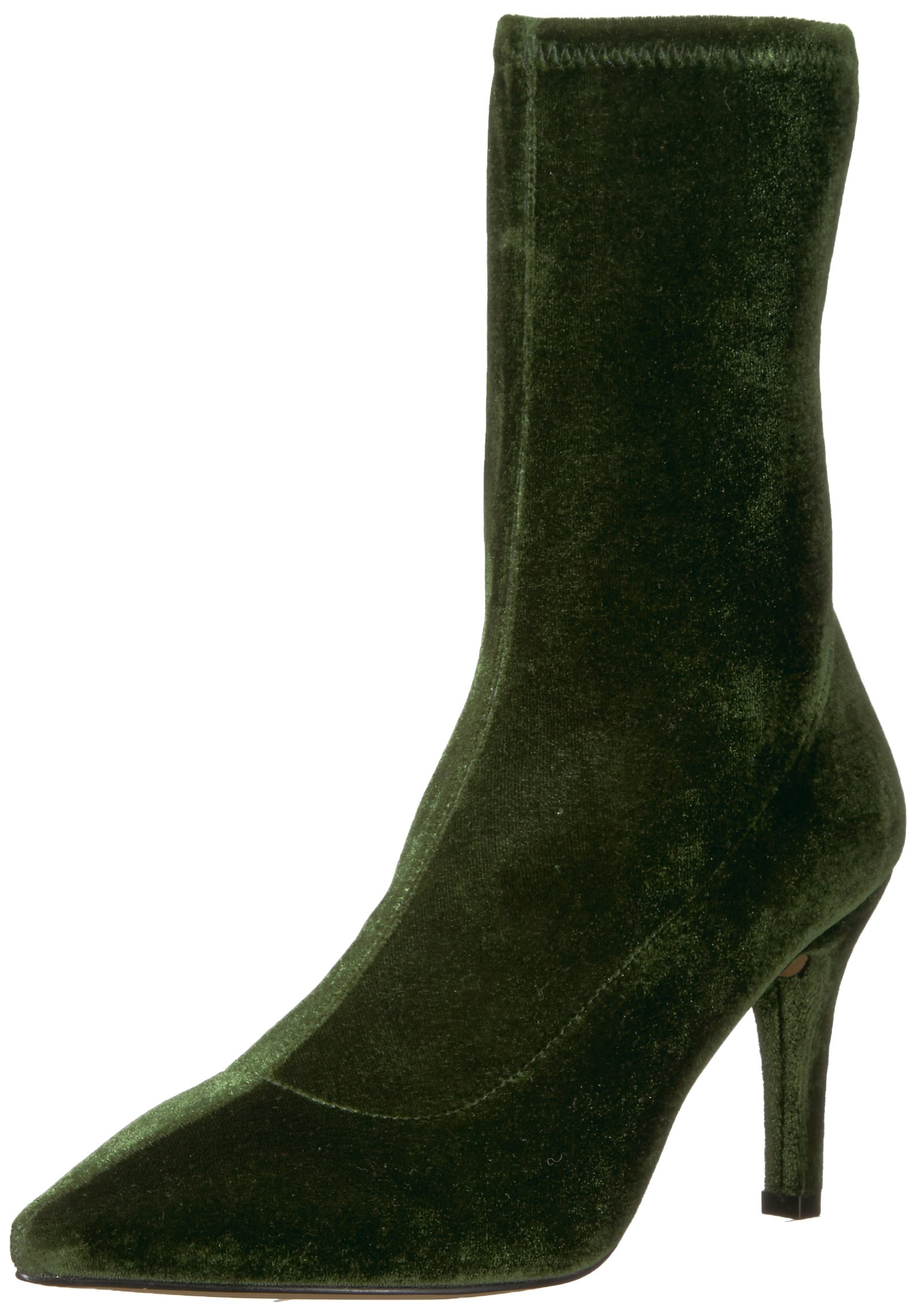 The Fix Women's Becca Pointed Toe Sock-Style Ankle Boot, Olive Stretch Velvet, 8.5 B US