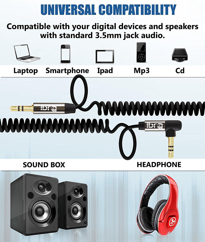 Chapado en Oro Cable Audio de Jack 3.5mm Macho a Macho 0,5 m Cable Jack 2 Pack IBRA Cable Auxiliar Espiral 0,5M