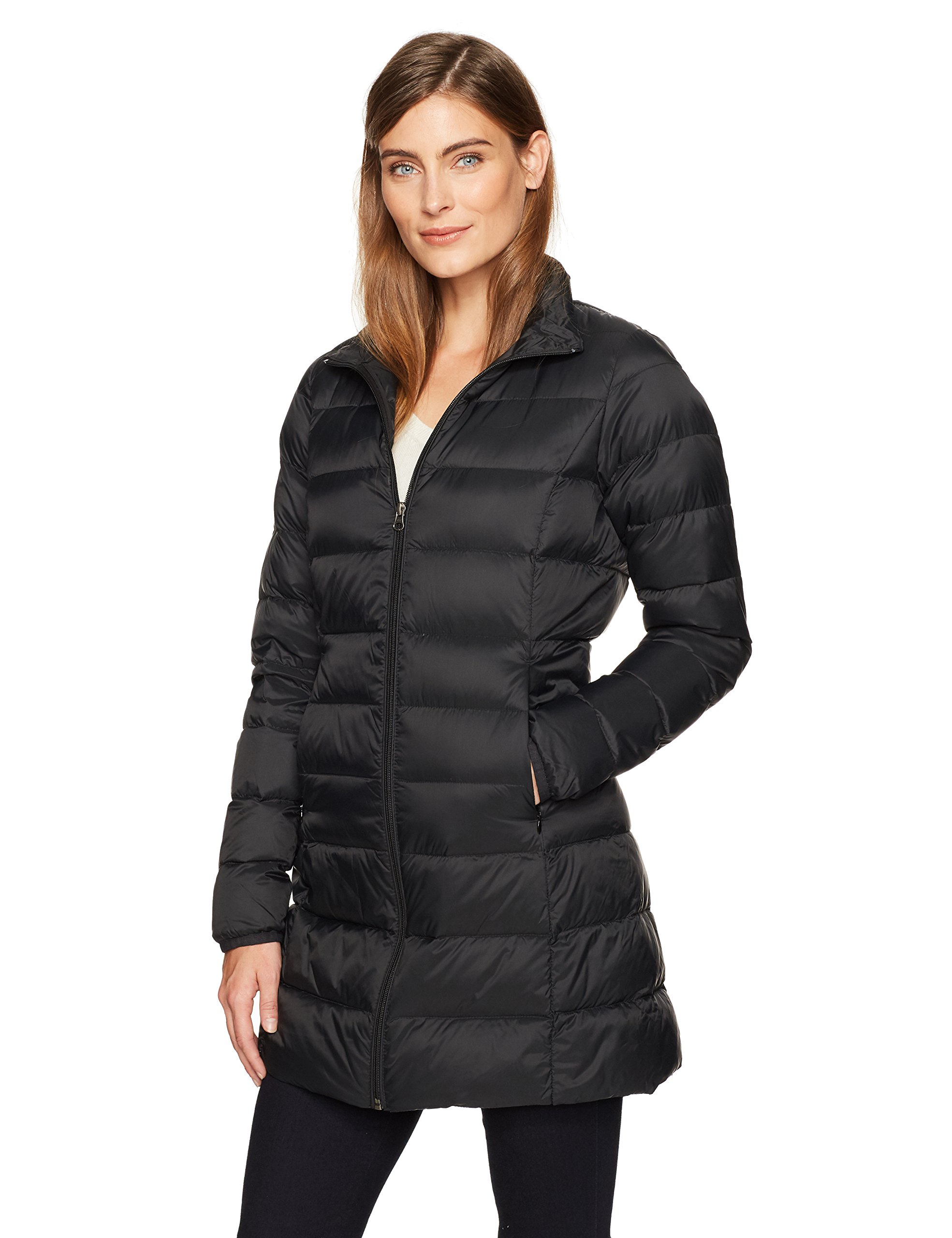 Amazon Essentials Women's Lightweight Water-Resistant Packable Down Coat, Black Caviar, Medium