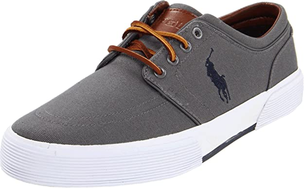 Polo Ralph Lauren Men's Faxon Low Sneaker, Grey, 7 D US