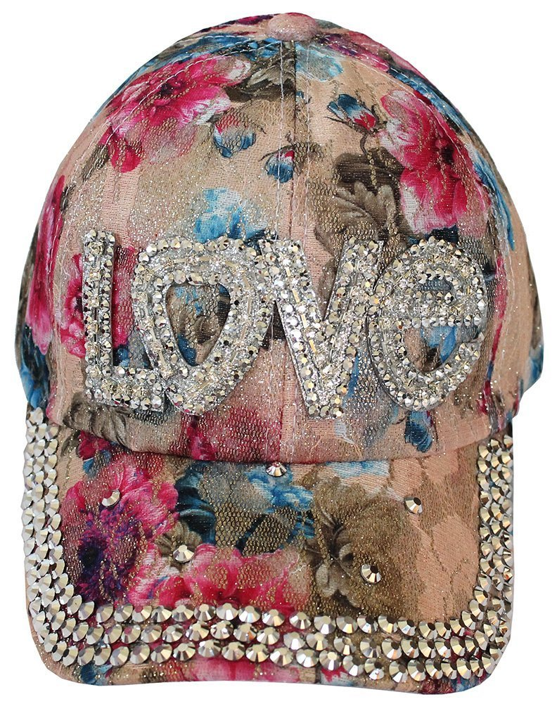 Love Floral Bling Bling Sequence Rhinestone Hat Baseball Cap Beige
