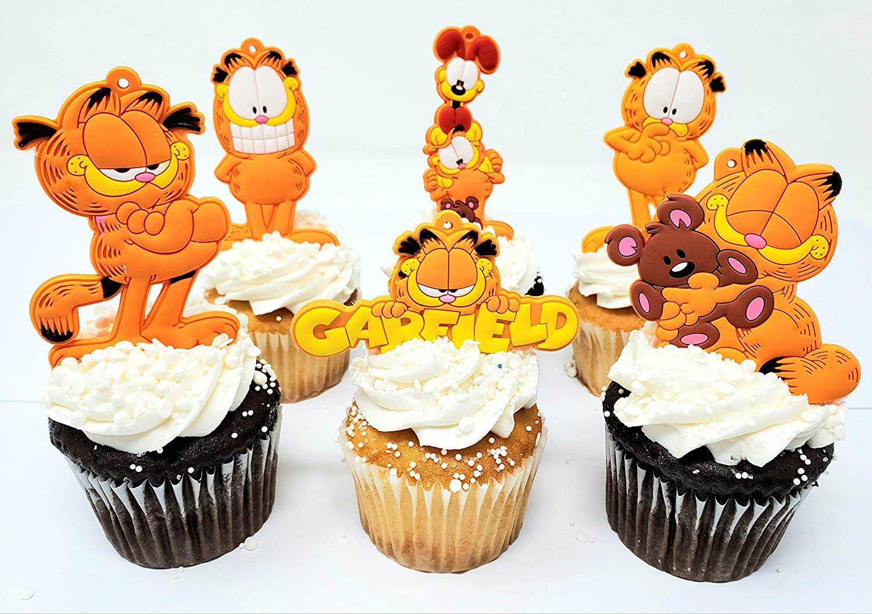 Garfield Birthday Cupcake Cake Topper Set Featuring Garfield and Friends