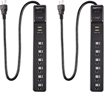 2-Pack AmazonBasics 6-Outlet Surge Protector Power Strip with 2 USB Ports