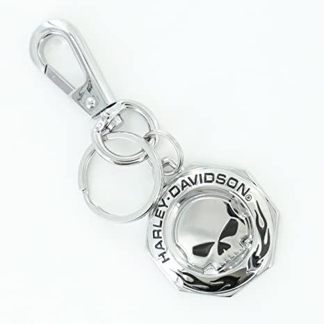 Harley-Davidson Chrome Willie G skull HD Wordmark & Flames Key chain