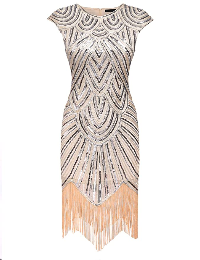 9f4f3b2120 etuoji Women s 1920s Gatsby Dresses Sequin Beaded Embellished Fringed  Vintage Party Dress at Amazon Women s Clothing store