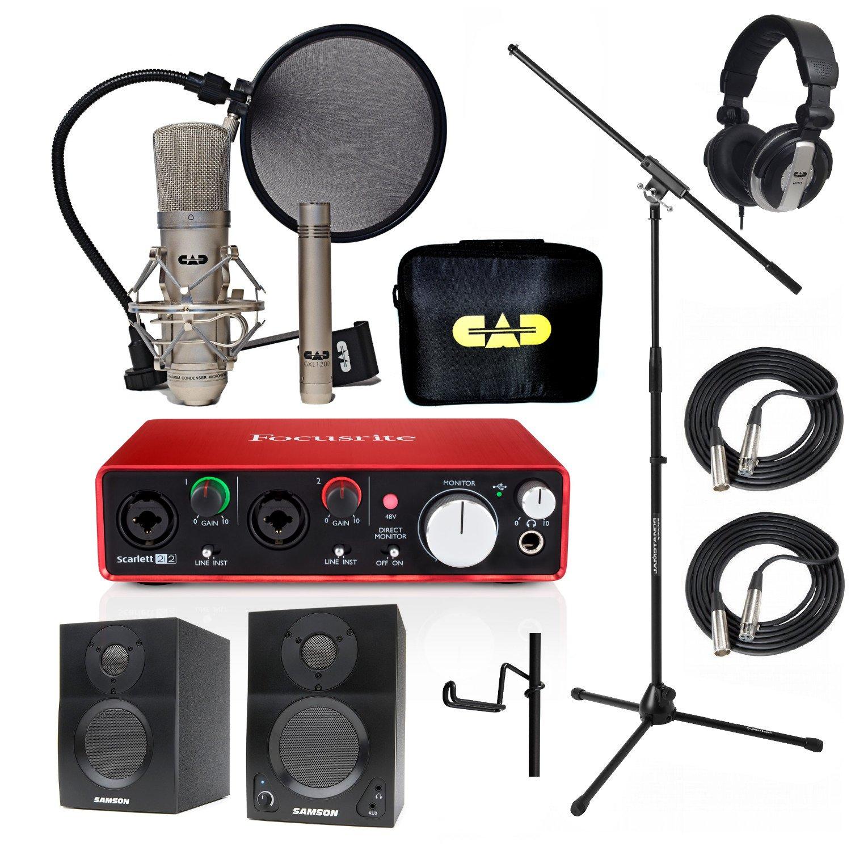Home Recording Studio Bundle CAD GXL2200SP MH110 Stand Focusrite Scarlett 2i2 (2nd GEN) Samson Media ONE BT3 Speakers by CAD, Focusrite, Samson