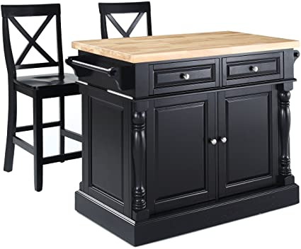 Crosley Furniture Kitchen Island With Butcher Block Top And 24 Inch X Back  Stools