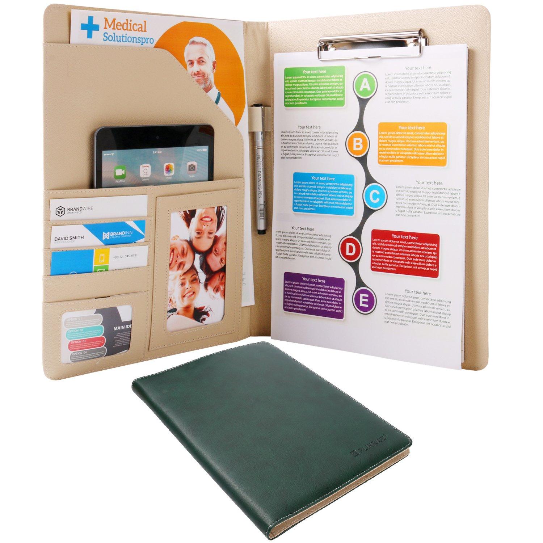 Plinrise Waterproof Shine PU Leather File Folder, Tight Metal Clip File Folder, For Letter Size Papper Writing Pad ,Perfect Office Folio Organizer & Professional Documents - Dark Green