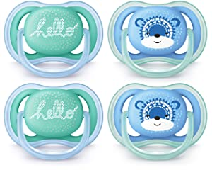 Philips AVENT Ultra Air Pacifier 6-18 Months, Blue/Green, Fashion Decos, 4 Pack, SCF342/42