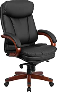 Flash Furniture High Back Black Leather Executive Ergonomic Office Chair with Synchro-Tilt Mechanism, Mahogany Wood Base and Arms