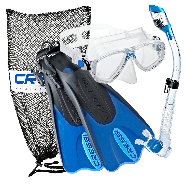 Cressi Palau Mask Fin Snorkel Set with Snorkeling Gear Bag, Blue, L/XL   (Men's 10-13) (Women's 11-14) by Cressi