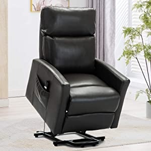 Bonzy Home Power Lift Recliner Chair for Elderly with Remote, 3 Position & Side Pocket, Faux Leather Reclining Chair Home Theater Seating-Gray