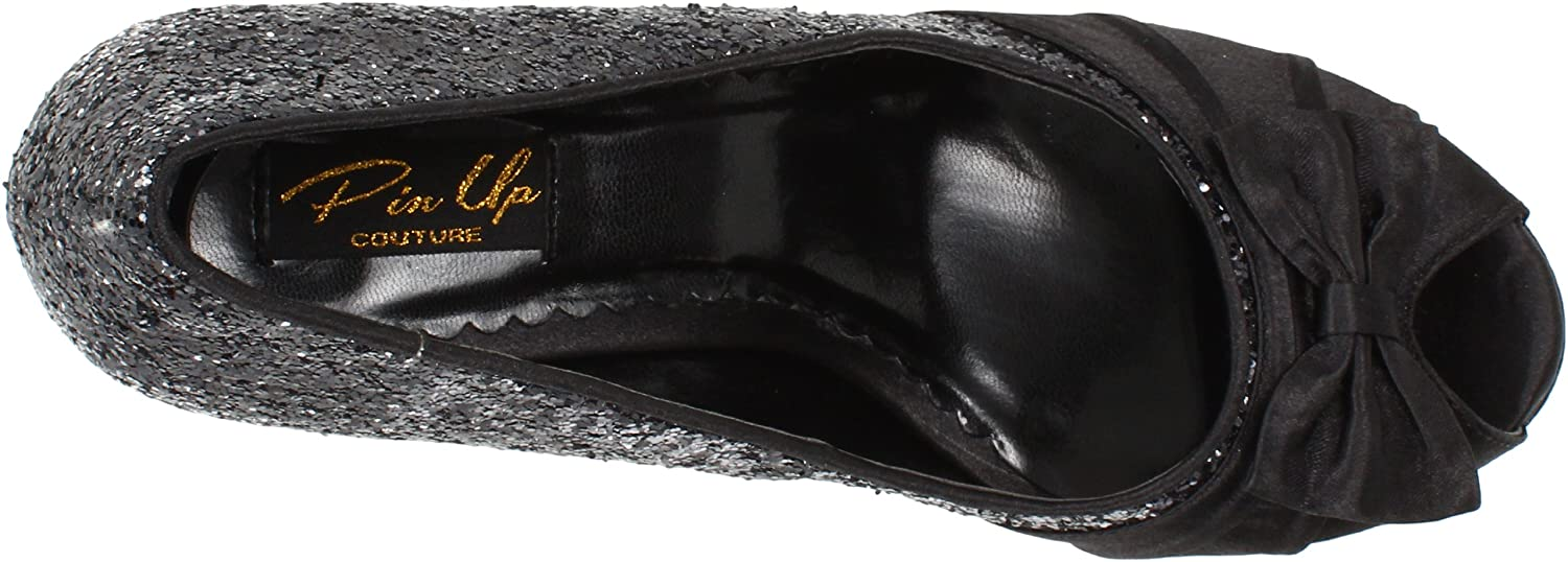 Pin up UK Couture BETTIE-10 Blk GLTR-Satin UK up 3 (EU 36) - b86143