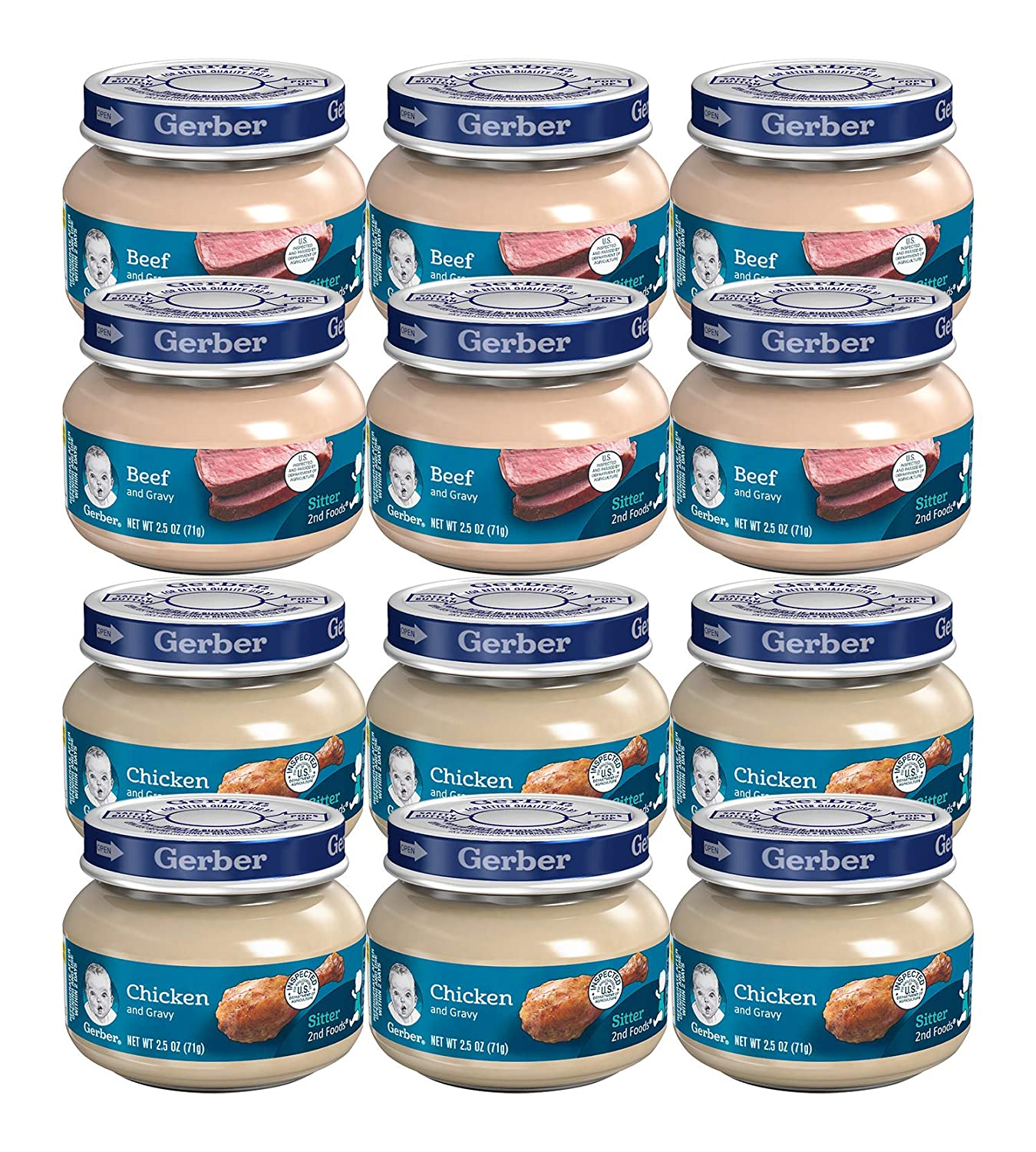 Gerber 2nd Foods: Meats Beef and Gravy, 2.5-Ounce 6 Jars and Chicken & Chicken Gravy, 2.5-Ounce 6 Jars (12 Jars Total)