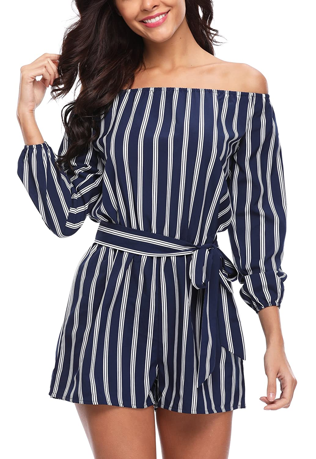f9e84755ae2 Amazon.com: MISS MOLY Jumpsuits for Women Summer Rompers Elegant Off The Shoulder  Striped 3/4 Sleeves Cute Playsuits Tops Shirts Blouse: Clothing