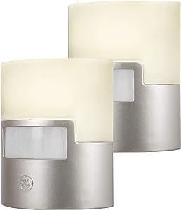 GE Enbrighten LED Night Light, Motion Sensor, 2 Pack, Plug-in, 40 Lumens, Soft White, UL Listed, Ideal for Bedroom, Nursery, Bathroom, Kitchen, Hallway, Silver, 46633, 2