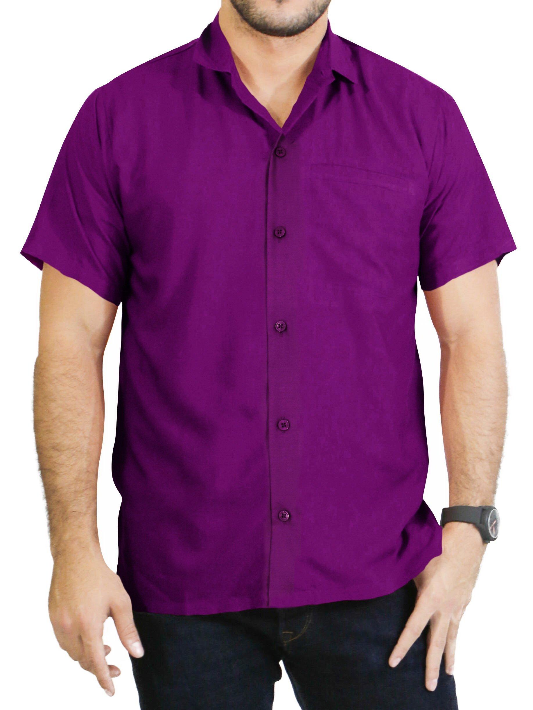 LA LEELA Rayon Beach Luau Vacation Dress Shirt Violet 2XL |Chest 54'' - 59'' by LA LEELA