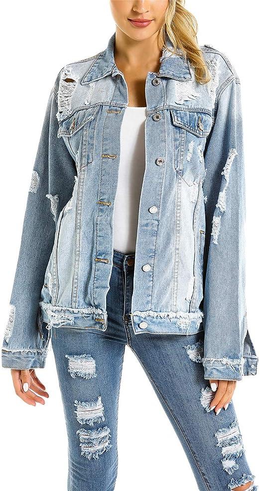 YoungSoul Damen Oversized Denim Jacke Boyfriend Jeansjacke mit Rissen und Tasche vorn