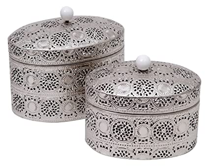 Burkina Home Decor 9016140 Set de Cajas Decorativas, Metal, Plata, 22x15x20 cm