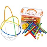 Learning Minds Connecta Straws Builders Tub - Construction Building Toy For Boys or Girls - 400 Pieces - Kids Educational Gift