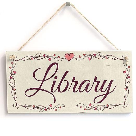 Biblioteca» - Cartel/Placa de madera. Diseño de corazón ...