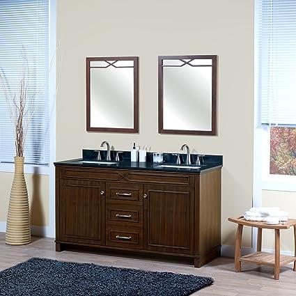 MAYKKE Abigail 60u0026quot; Bathroom Vanity Set In Birch Wood American Walnut  Finish | Double Brown