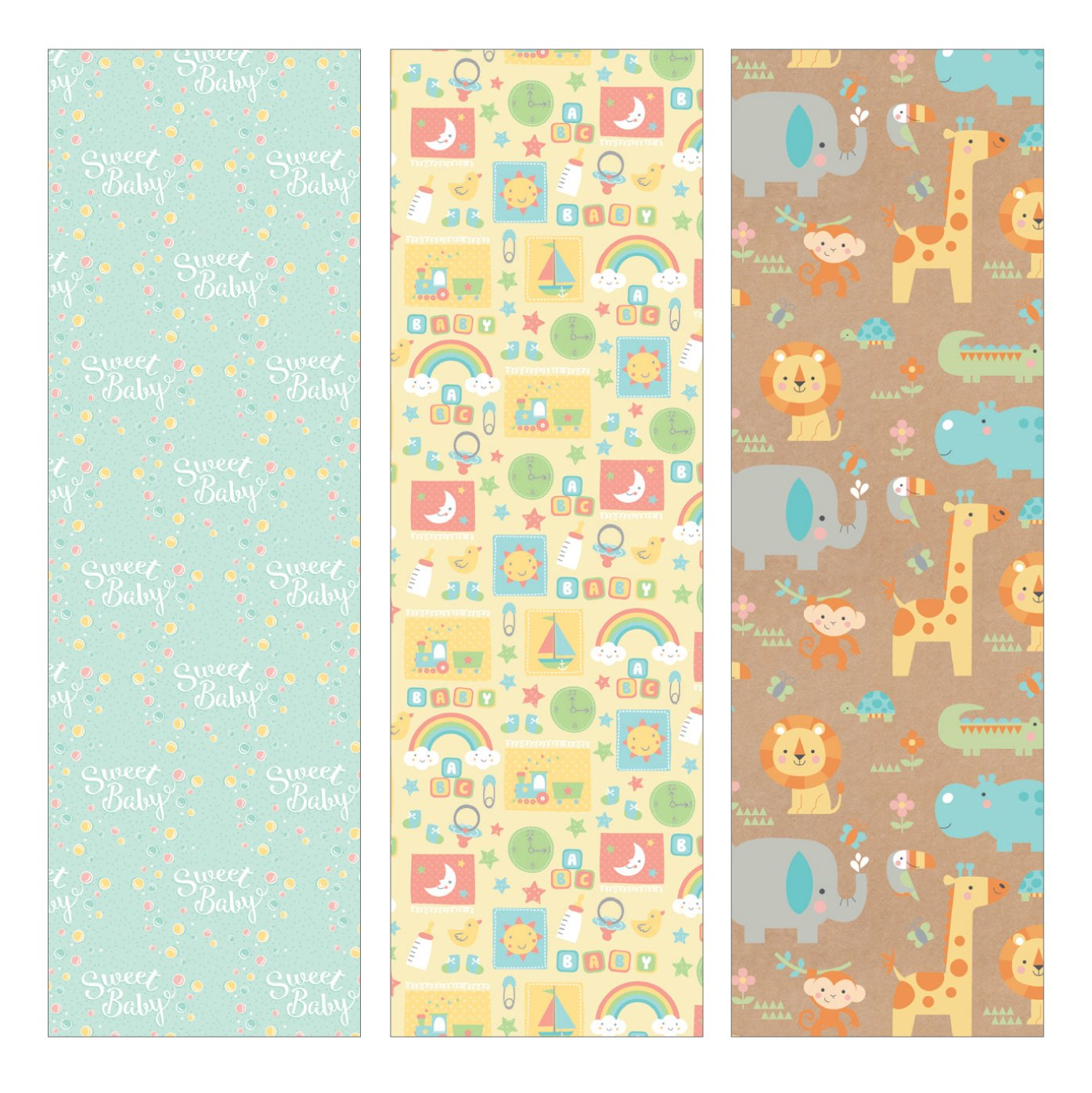 Amazon.com: Pack of 3 Rolls of Baby Shower Wrapping Paper 3 Different Gift  Wrap 8ft x 30in Rolls Included Newborn Baby Designs.: Health & Personal Care