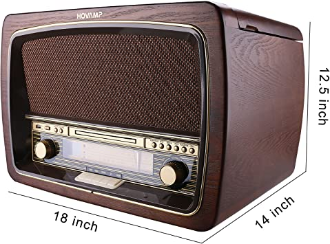 HOVAMP MT-02 -Gramófono Bluetooth de Madera Tocadiscos: Amazon.es ...