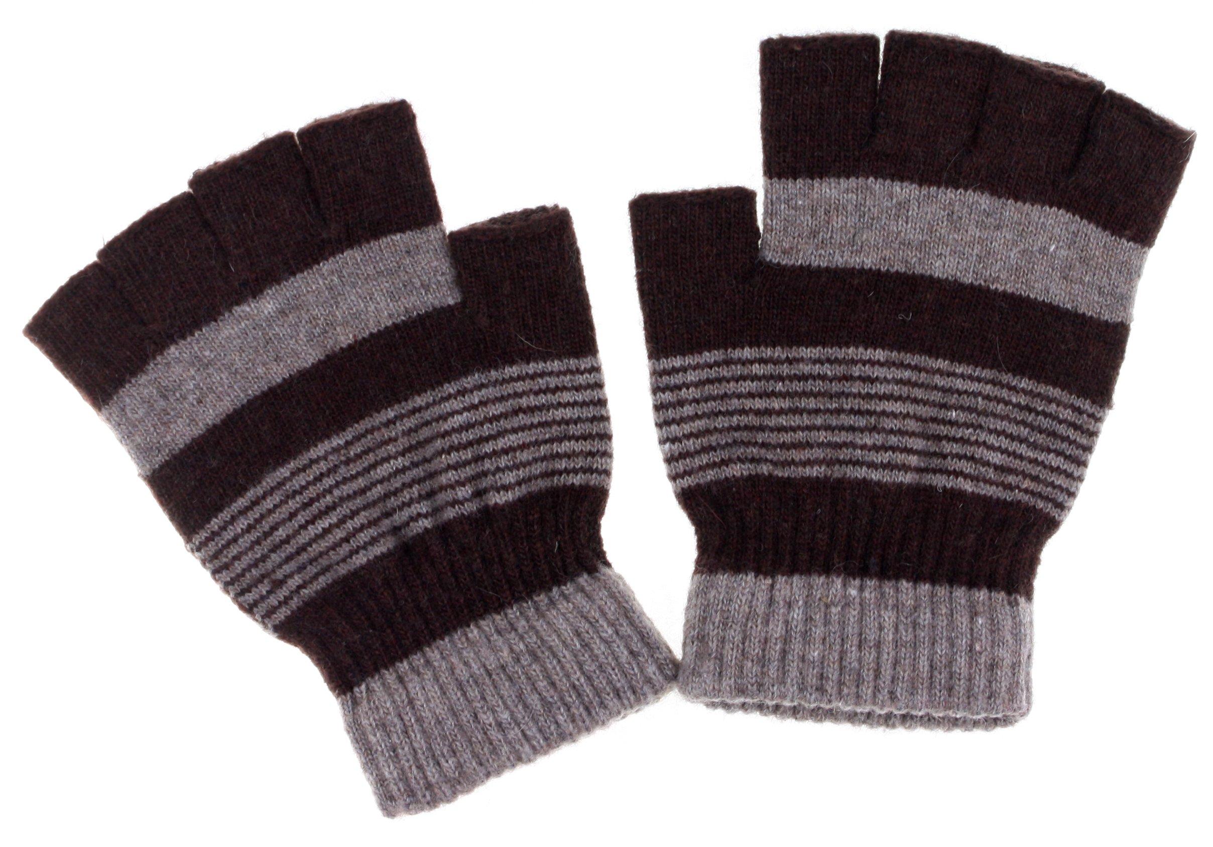 DRY77 Fingerless Casual Unisex Magic Wool Gloves, Brown
