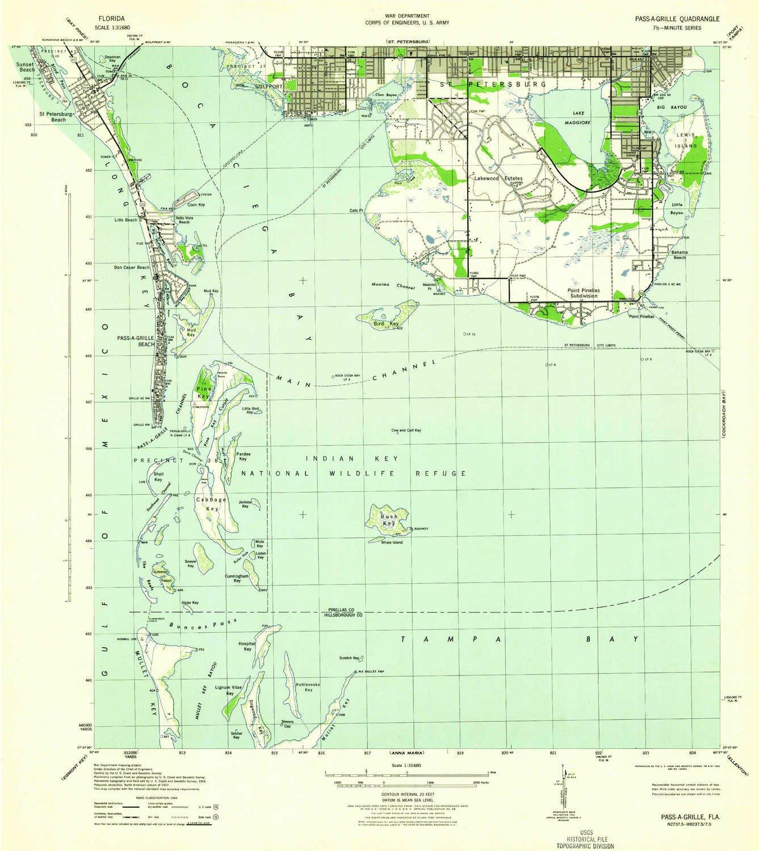 Topo Map Florida.Amazon Com Yellowmaps Pass A Grille Fl Topo Map 1 31680 Scale
