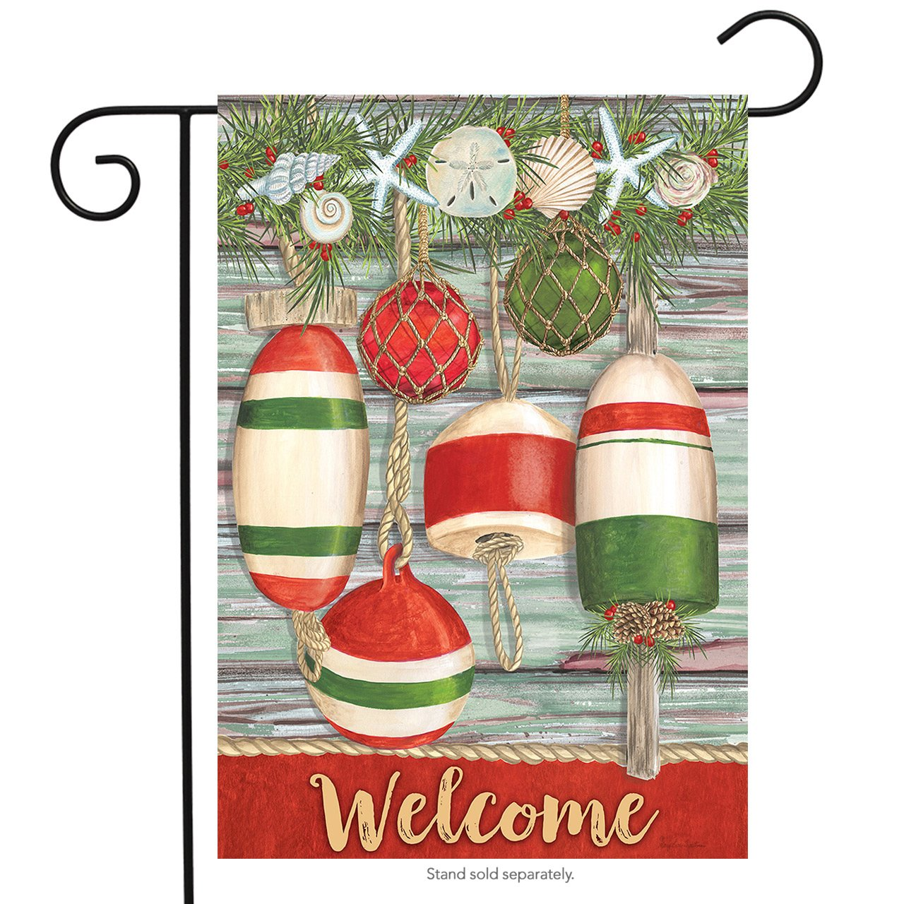 "Briarwood Lane Festive Buoys Christmas Garden Flag Nautical Seashells 12.5""x18"""
