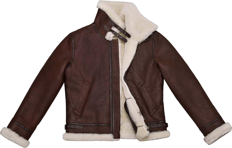 Mens Real B3 Shearling Sheepskin Jacket Chestnut with Ivory Fur Bomber Pilot RAF