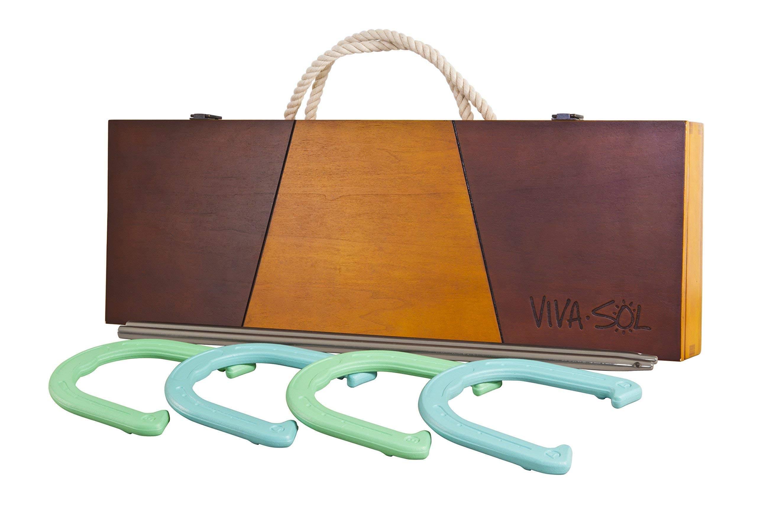 Viva Sol Premium Horseshoes Outdoor Game Set with 4 Horseshoes, 2 Stakes, and Wooden Case (Renewed)