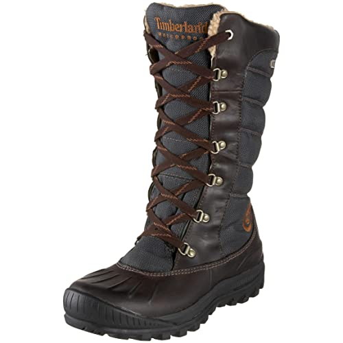 Timberland Mount Holly Lace Duck- Botas impermeables de caña alta para mujer, color marrón
