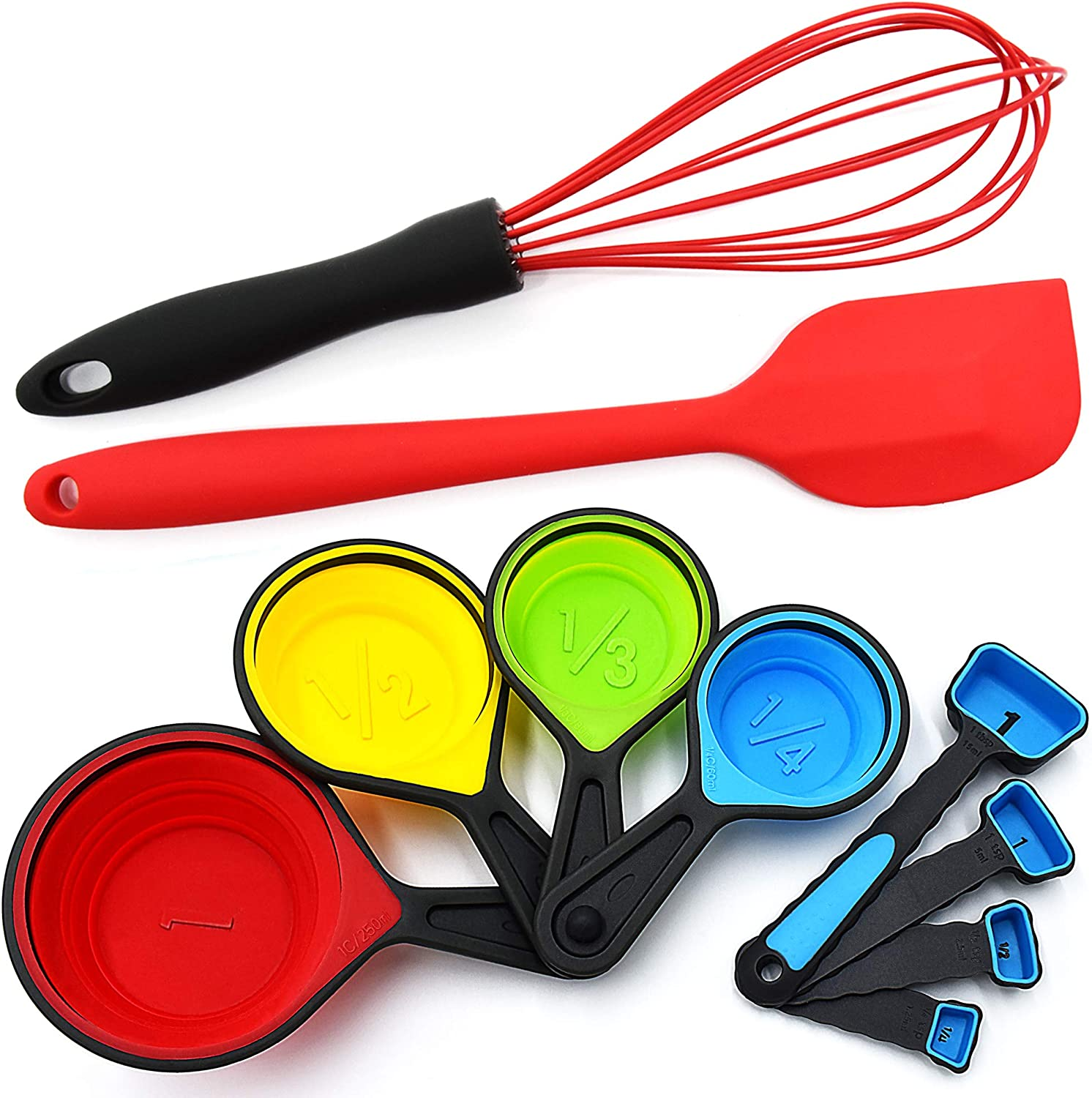 Silicone Whisk - Collapsible Measuring Cups and Spoons - Baking Spatula - 10 Piece Set – Cooking Kitchen Utensils