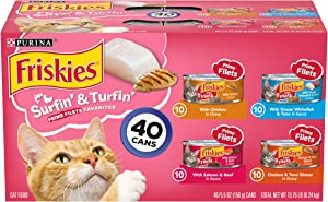 Purina Friskies Wet Cat Food Variety Pack, Surfin' & Turfin' Prime Filets Favorites - (40) 5.5 oz. Cans