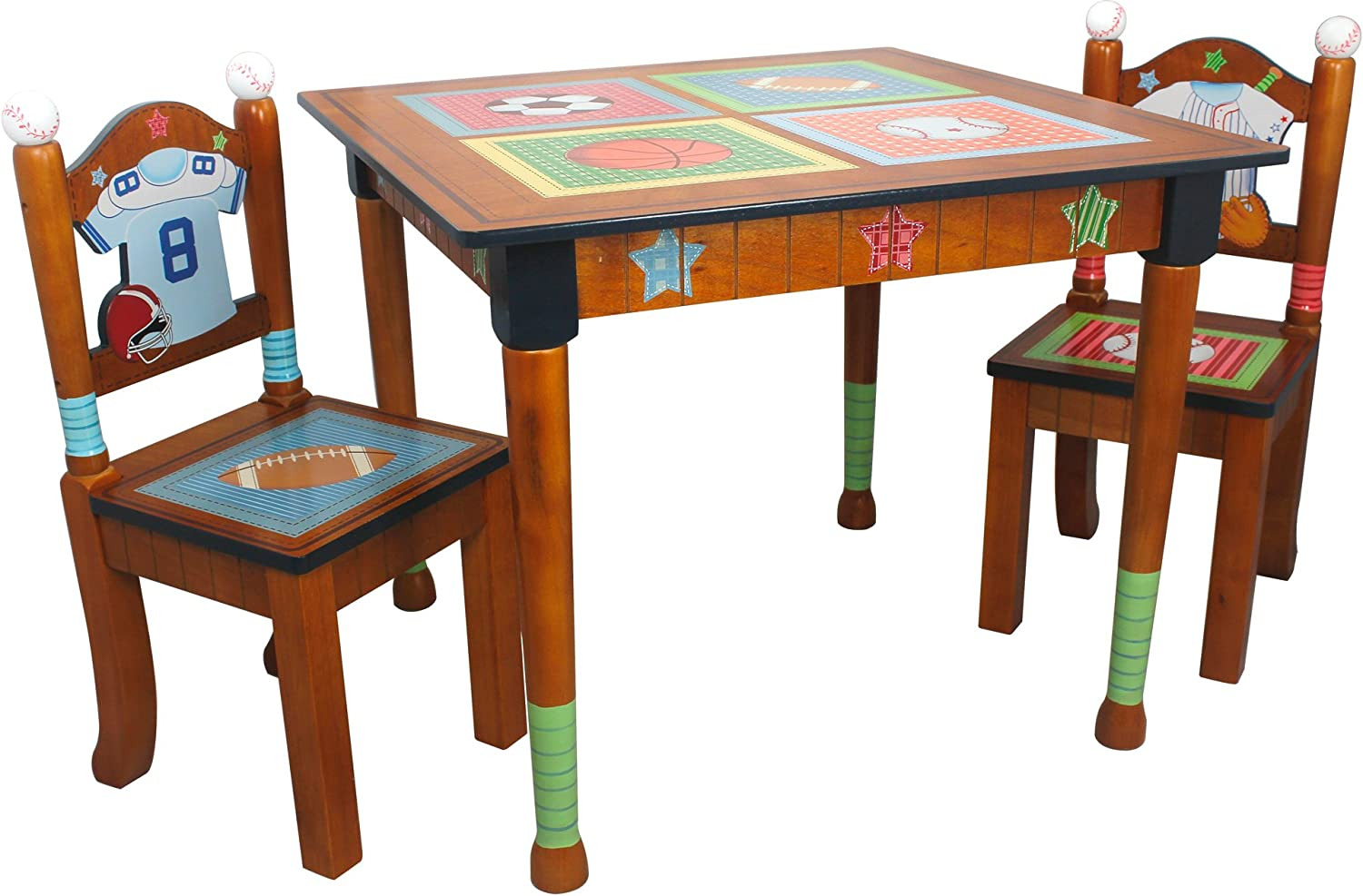 Fantasy Fields - Lil' Sports Fan Thematic Hand Crafted Kids Wooden Table and 2 Chairs Set |Imagination Inspiring Hand Crafted & Hand Painted Details Non-Toxic, Lead Free Water-based Paint