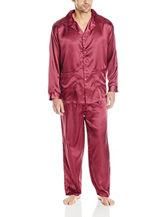 INTIMO Satin Solid Pajama Set at Amazon Men s Clothing store  70f3030d1