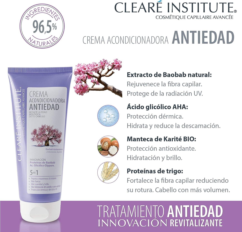 Clearé Institute Crema Acondicionadora Antiedad - Acondiciona, Repara y Rejuvenece al Instante   Sin Sulfatos SLE, SLS y Parabenos   96% Ingr. ...