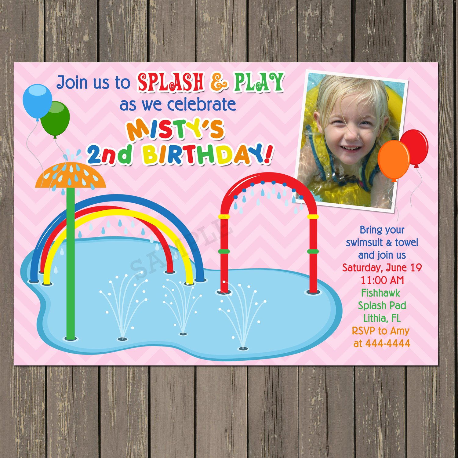 Amazon Splash Pad Spray Park Water Fun Birthday Invitation Pool Party Summer In Blue Or Pink Handmade