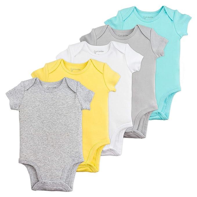 f4e4a1ecd Amazon.com: Baby Boy or Baby Girl Bodysuit Set, 5-Pack Short Sleeve ...