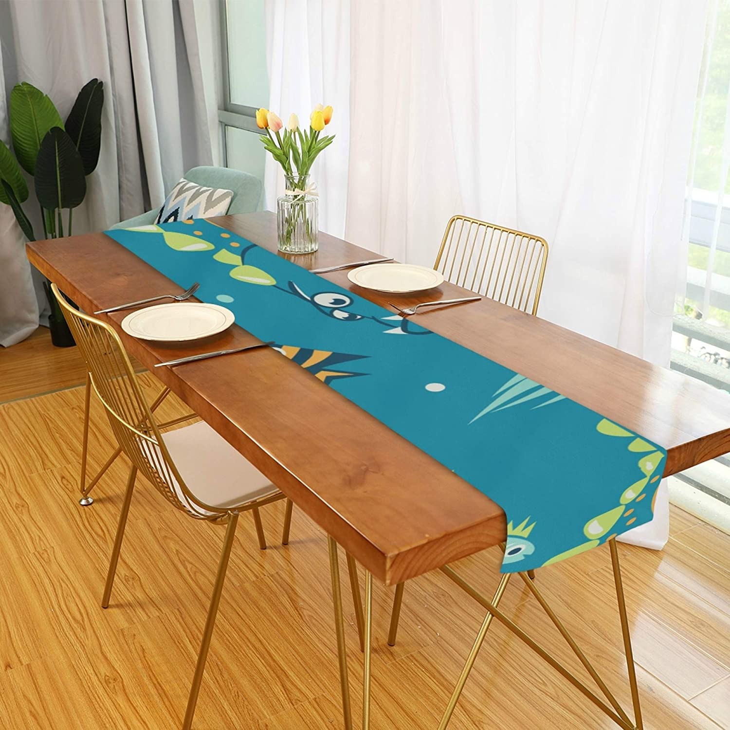 Amazon Com Farmhouse Table Runner For Home Kitchen Dining Table Coffee Table Decor Winter Table Runner Pattern Marine Dinosaurs Fish Jellyfish Table Linens For Indoor Outdoor Everyday Uses 13x90in Home Kitchen