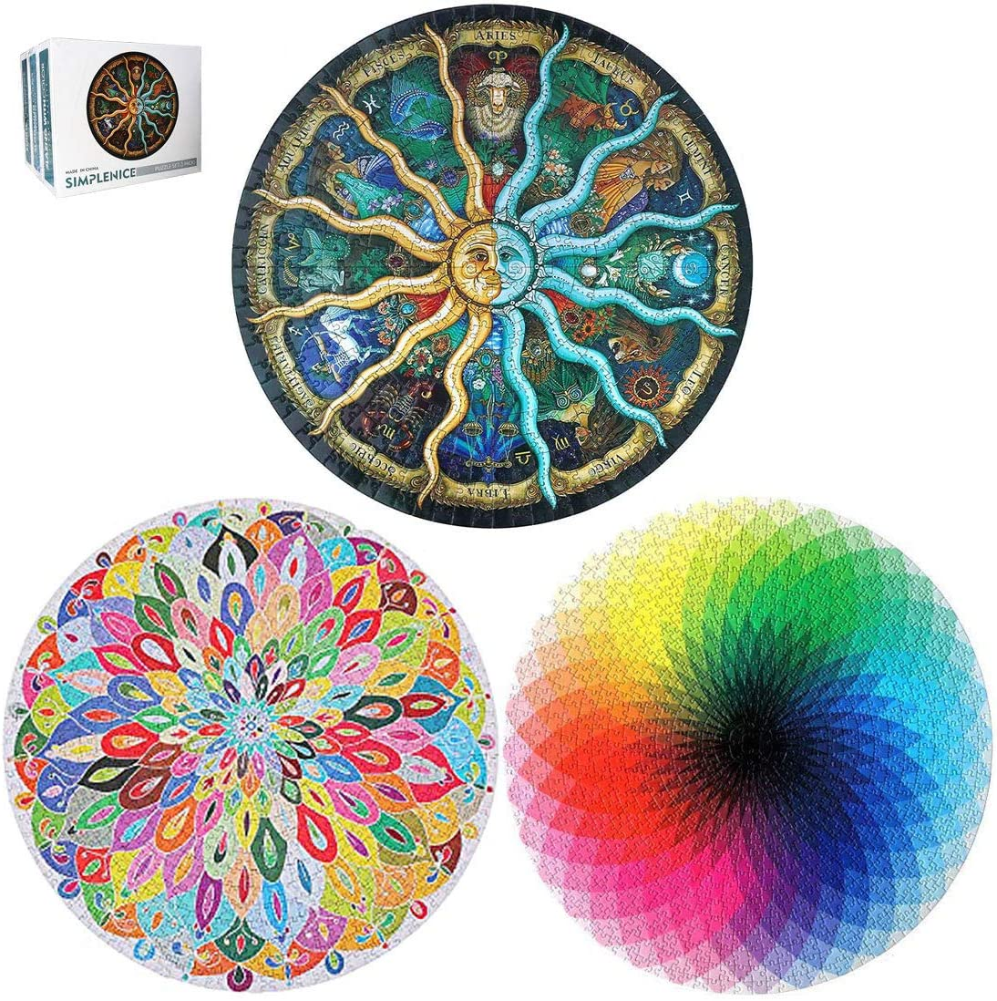 Jigsaw Puzzle for Adults 1000 Pieces Difficult Circular Puzzle Set Adult Games Family Puzzle Children Puzzle,3 in 1 Puzzle Toys Set for Indoor Activities